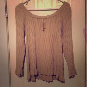 Light off the shoulder cream-colored sweater